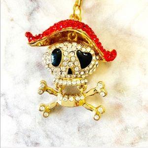 Pirate Skull & Crossbones Keychain Sparkle Crystal